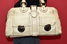 MARC JACOBS Off White Leather Pushlock Pocket Buckle Satchel Purse Shopper Bag