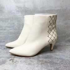 New DOLCE VITA Off White Leather Dot Ankle Boot Size 6 $170 NIB Rivet Point Toe