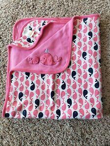 Gymboree Pink White Blue Whale Blanket Cotton Knit Reversible