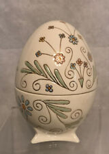 Vintage Decorative Ceramic Easter Egg Shaped Candy Dish Container Footed Base