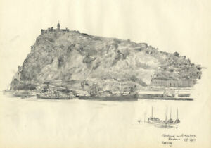 Austin Blomfield - 1957 Charcoal Drawing, Montjuic and Barcelona Harbour