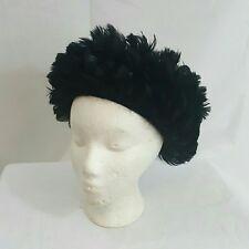 Vintage 1960s Black Feathered Pill Box Derby Church  Statement Hat