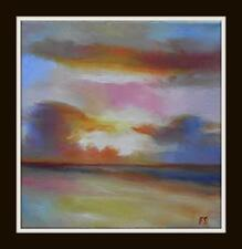"Sunset Beach : Original Impressionist Oil Painting : by Fountain : 8"" X 8"""