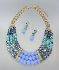 CHIC Artisanal Smoky Blue Czech Labradorite Chalcedony Crystals Necklace Set