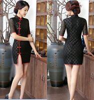 New style Black Chinese women's lace mini dress Cheongsam Sz:6 8 10 12 14