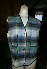 Wool Blend Plaid Vest, Women's sz. S, Green/Multicolor, 4 Pocket, The Limited