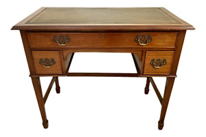 Vintage Georgian Walnut Writing Table With Tooled Leather Top