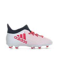adidas Junior Boys X 17.3 Firm Ground Football Boots in White Black Red