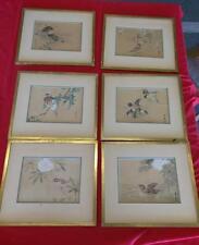 6 Vintage Old Japanese Woodblock Print Prints Wood Block Asian Birds Framed Set