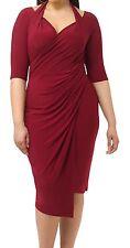 Lane Bryant KIYONNA Foxfire faux wrap dress 2X 18/20 Burgundy
