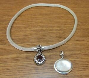 Sterling Silver Espo Sig Mesh Necklace with 2 Snap Changeable Pendants