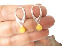 Round  Butterscotch  AMBER   Sterling  Silver  925  Gemstone  Earrings   -  6 mm