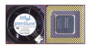 Intel Pentium 150 MHz Socket 7 CPU SU071 with Attached Heatsink/Fan Vintage GOLD