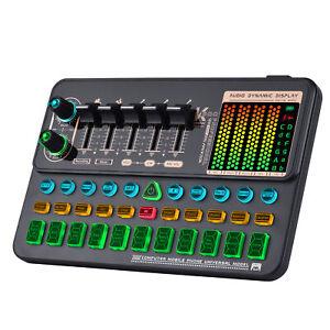 Muslady SK500 Portable Live Sound Card Voice Changer Device Audio Mixer U3Y9