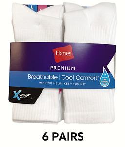 Hanes Women's Crew Premium X - Temp White 6 Pairs Athletic Socks Shoe Size (5-9)