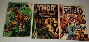 Late Silver Age Lot: Fantastic Four #79, Thor #136, & Nick Fury #12
