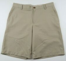 Izod Mens Polyester Solid Beige Casual Dress Khaki Chino Shorts Size 34