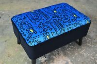 New Mid Century Style Footstool Keith Haring Style Blue Velvet Upholstery
