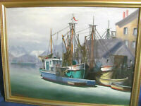 Rockport / Cape Ann Vintage O/C Painting of Fishing Trawlers Moored by Pier