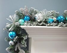 Christmas Garland flocked Decorated Ball Ornaments Blue & Silver 6'