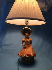 """VTG 20'"""" Chalkware Table Lamp, Girl with Bonnet and Flowers, #1040"""