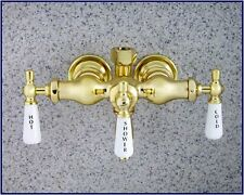 Brass Clawfoot Tub Diverter Faucet With 3 Porcelain Lever Handles