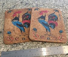 2 Vintage Korkies Cork Bright Roosters Kitchen Trivets Hot Pad bx34