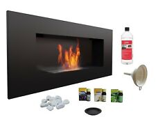 HQ BIO ETHANOL FIREPLACE DESIGN ECO FIRE BURNER + 1L FUEL FREE 900x400 BLACK