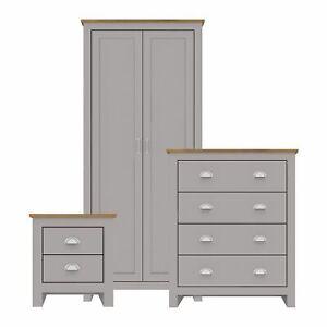 Lancaster Grey & Oak 3 Piece Bedroom Set - Wardrobe, Chest of Drawers, Bedside