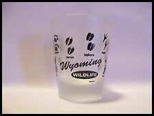 Shot Glass Wyoming Wildlife Animal Tracks Hoof Prints Deer Bison Coyote Elk 871