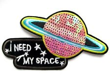 Sequin I Need My Space Iron On Patch- UFO Planet 16cm x 8cm Applique Badge Sew