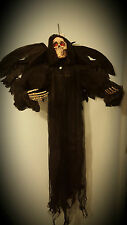 Light up yeux xl winged reaper squelette halloween hanging crâne décoration prop