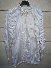 Chemise Façonnable blanche fines rayures marron manches longues L 4 16