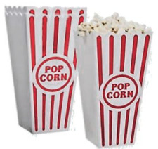 3 Reusable Novelty Plastic Popcorn Boxes Tub Carton Container Movie Party Treat
