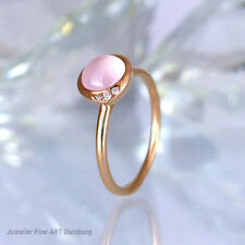 Ring in 750/ RG - 3 Diamanten 0,02 ct. + 1 Rosenquarz 1,17 ct. NEU ungetragen