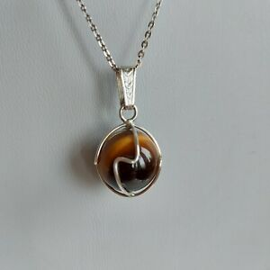 VINTAGE Caged Tigers Eye Sphere Pendant & Chain European Silver 830