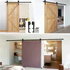 6ft Sliding Barn Door Roller Door pulley backup Sliding Kit Hardware Set Black