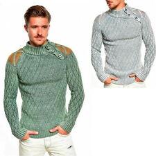 Unifarbene Herren-Pullover mit regular Länge und grober Strickart
