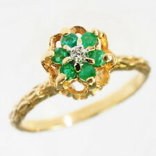 Unique 10k Yellow Gold Bamboo Textured Emerald Diamond Cocktail Dinner Ring 6