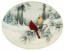 Lenox Winter Greetings Large Oval Platter 16 Winter Snow Scene Two Cardinals Nwt
