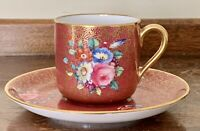 Antique 19th Century Davis Collamore & Co. Minton  Gold Demitasse Cup & Saucer