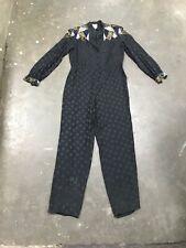 1980's Jumper Women's Bodysuit Sequin Silk Beaded Print Onepiece
