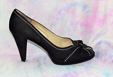 PETER KAISER Size 6.5 UK Black Leather Stitch Bow Platform Heels *VGC & Clean