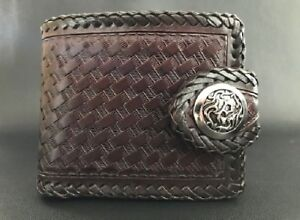 Biker Wallet dark burgundy leather Basket style and a tribal concho Harley
