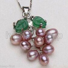Fashion Real Cluster Purple Pearl & Jade Grape 18KWGP Pendant and Necklace