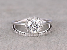 Certified 3Ct Round Cut Diamond 14K Solid White Gold Halo Anniversary Ring Set