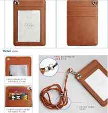 Korea Basic ID Card Holder Card Cases Badge Necklace Leather Neck Strap Lanyard