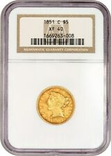 1851-C $5 NGC XF40 - Popular Branch Mint Gold - Liberty Half Eagle - Gold Coin