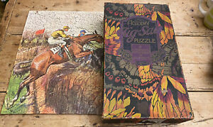 """1920'S  SALMON ACADEMY WOODEN JIGSAW PUZZLE STEEPLECHASE HORSES 20 X 14 """" 660 P"""