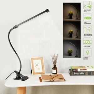 8W LED Klemm-Leuchte dimmbar Leselampe flexibel Tisch-Lampe 3 Lichtfarbe schwarz